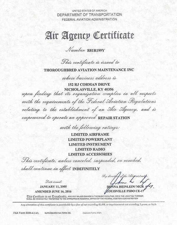 FAA Air Agency Certificate