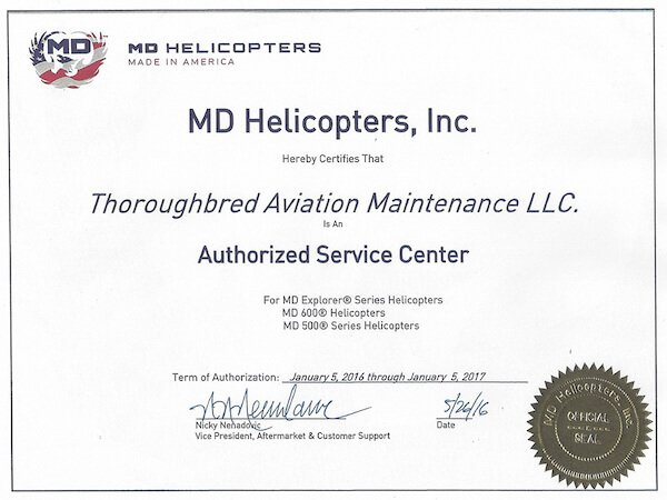 MD Helicopters Authorized Service Center