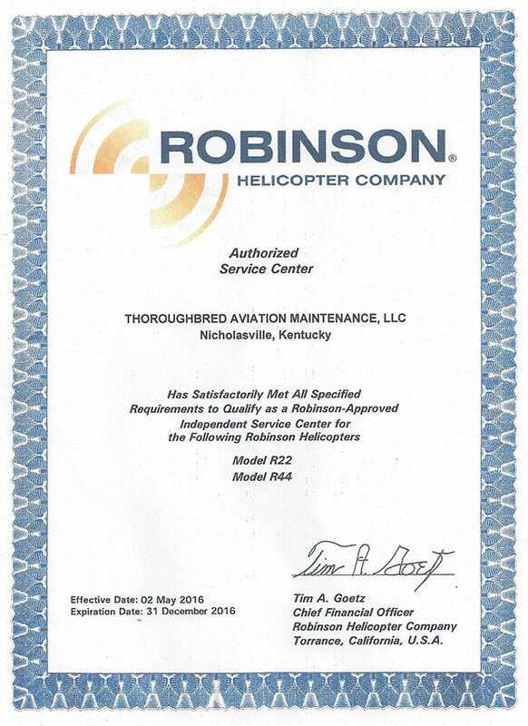 Robinson Helicopter Authorized Service Center